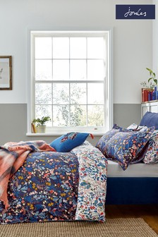 Joules Blue Woodland Ditsy Duvet Cover and Pillowcase Set