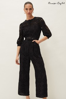 Phase Eight Black Honor Cutwork Bodice Jumpsuit