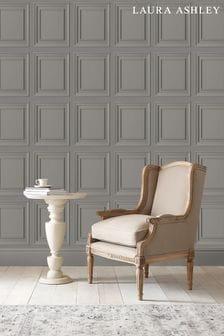 Laura Ashley Pale Steel Redbrook Wood Panel Wallpaper