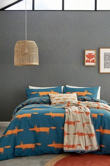Scion Blue Mr Fox Brushed Cotton Duvet Cover and Pillowcase Set