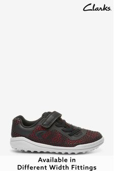 Clarks Black Mesh Look Lace Trainers