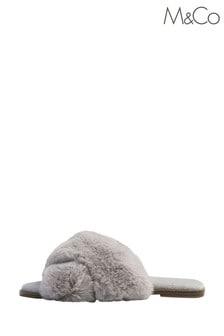 M&Co Grey Furry Mule Slippers