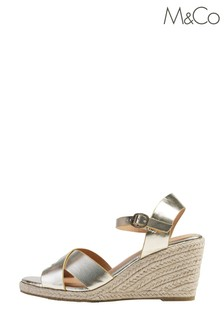 M&Co Gold Cross-Over Strap Wedge Espadrilles