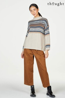 Thought Brown Poppie Pleated Organic Cotton Cord Culottes