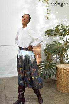Thought Green Kelmscott Tencel™ Pleated Midi Skirt