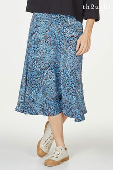 Thought Blue Saraband Printed Tencel™ Bamboo Flared A-Line Skirt