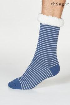 Thought Blue Blaise Stripe Organic Cotton Cabin Socks