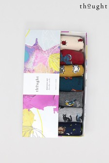 Thought Grey Annette Animal Bamboo Organic Cotton 7 Sock Box