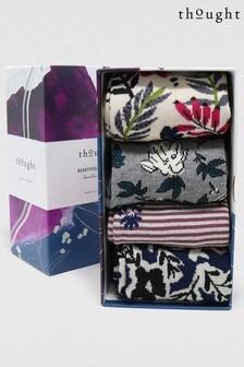 Thought Purple Rasmine Floral Bamboo Organic Cotton 4 Sock Gift Box