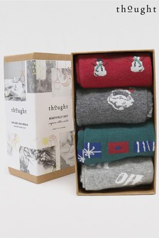 Thought Grey Talton Christmas 4 Sock Organic Cotton Gift Box