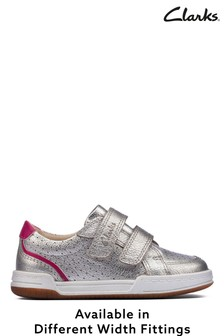 Clarks Silver Metallic Leather Shoes