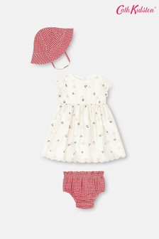 Cath Kidston Baby Broderie Mini Cherries Dress with Bloomers and Hat