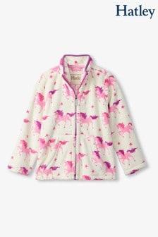 Hatley Cream Twinkle Unicorns Zip-Up Fuzzy Fleece