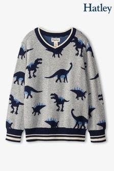 Hatley Grey Dino Herd V-Neck Sweater