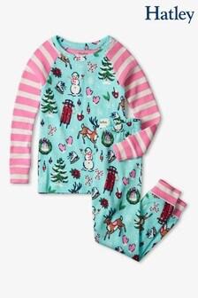 Hatley Blue Cabin Christmas Cotton Raglan Pyjama Set