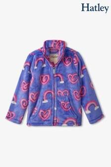 Hatley Blue Twisty Rainbow Hearts Zip-Up Fuzzy Fleece