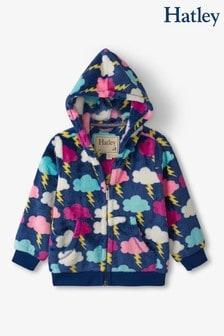 Hatley Blue Electric Clouds Fuzzy Fleece Hooded Jacket