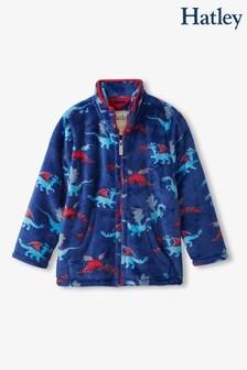Hatley Blue Fierce Dragons Zip-Up Fuzzy Fleece