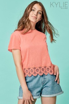 Kylie Pink Teen Lace Hem Top
