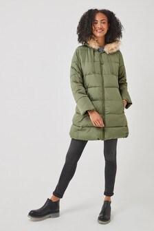 Gap Longline Faux Fur Puffer Coat