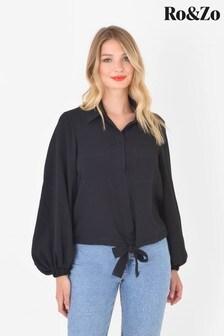 Ro&Zo Black Drawstring Hem Shirt