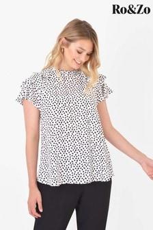 Ro&Zo White Dash Print Ruffle Sleeve Top