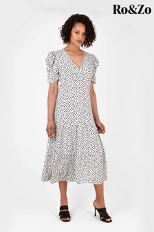 Ro&Zo White Dash Print Tiered Midi Dress