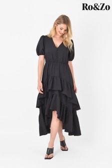 Ro&Zo Black Check Double Tiered Dress