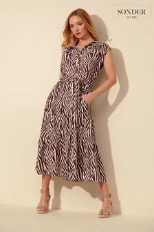 Sonder Studio Cream Zebra Print Midi Dress