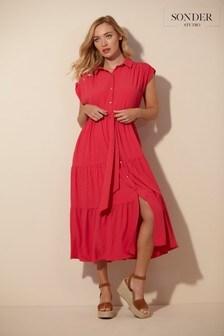 Sonder Studio Pink Midi Shirt Dress