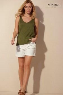 Sonder Studio Cream Denim Shorts