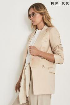 Reiss Aila Wool Linen Blend Double Breasted Blazer