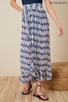 Monsoon Blue Printed Wrap Hem Skirt