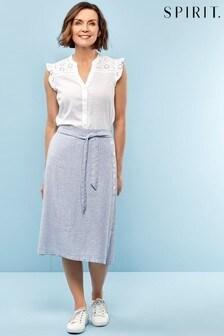 Spirit White Linen Stripe Skirt
