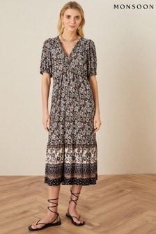 Monsoon Black Heritage Print Midi Dress
