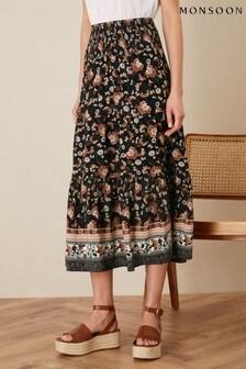 Monsoon Black Caprice Shirred Waist Floral Skirt