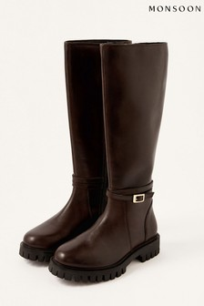Monsoon Brown Sadie Leather Riding Boots