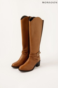 Monsoon Brown Lisa Leather Buckle Riding Boots