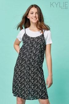 Kylie Teen Black Ditsy Slip Dress