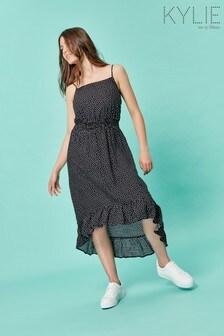 Kylie Teen Black Spot Low Hem Dress