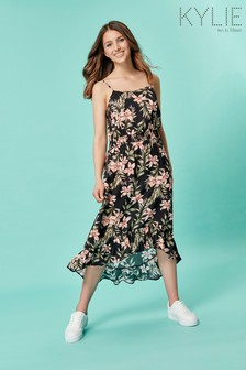 Kylie Teen Black Floral Low Hem Dress