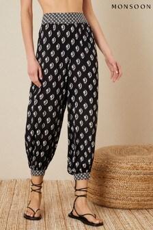 Monsoon Black Rori Printed Hareem Trousers