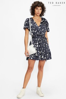 Ted Baker Steviee Puff Sleeve Faux Wrap Dress