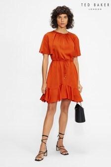 Ted Baker Orange Elsieee Fluted Hem Mini Dress
