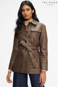 Ted Baker Natural Haislii Leather Utility Jacket