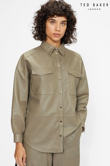Ted Baker Grey Laars Leather Oversized Shirt
