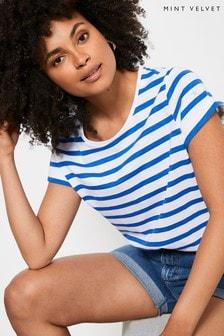 Mint Velvet Blue Striped Star T-Shirt