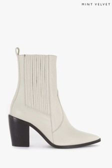 Mint Velvet Off-White Willow Leather Boots