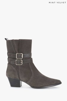 Mint Velvet Grey Polly Suede Cowboy Boots