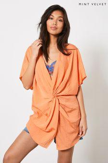 Mint Velvet Orange Knotted Cover Up Dress
